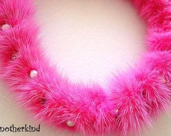 Bright Fuchsia Hot Pink Mink Necklace OOAK