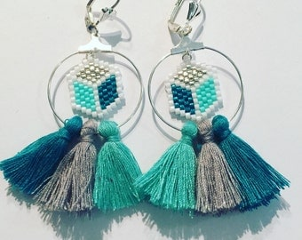 Beads miyuki and tassels earrings