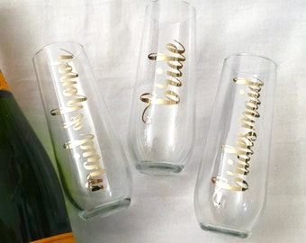 Gold Foil Personalized Champagne Glasses - Flutes for Bridesmaid Maid of Honor Bride Flutes - Stemless Champagne Bridal Gift
