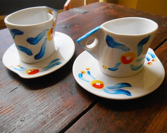 Coffee set-floral duo red/blue/yellow
