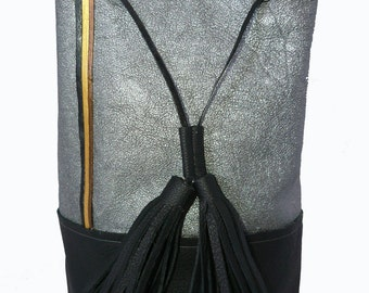 Silver and black leather bucket bag