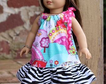"Mackenzie Ruffle Pillowcase Dress - 18"" Doll Tutorial -Instant Download"