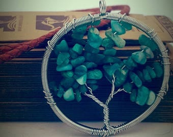DIY jewelry kit. Tree of life pendant, leather string and magnetic clasp