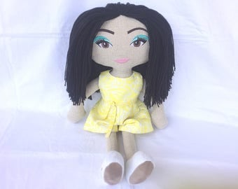 "Soft doll, handmade, fabric doll, rag doll, custom made, black, yellow, cloth doll, 20"", natural linen, 100% Australian wool, 51cm"