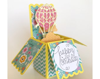 Hot Air Balloon And Clouds Happy Birthday Pop Up Box Card Keepsake With Matching Envelope