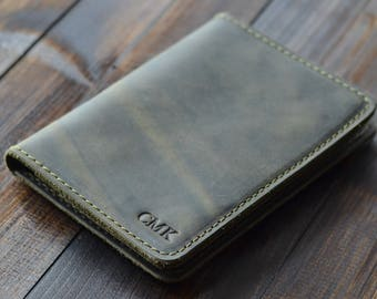 Personalized Leather Passport Wallet, Distressed Leather Travel Wallet, Passport Holder, Leather Passport Cover, Olive Green