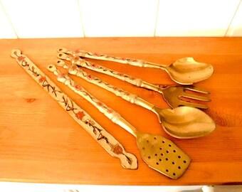 Kitchen utensils set / Vintage kitchen utensils / Hanging utensils set / Brass kitchen utensils set Decorative utensils  Brass utensil rack