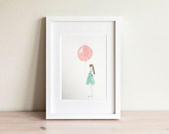 Illustration petite fille avec ballon, Little girl with balloon Illustration / fait main, handmade