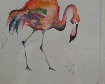 Flamingo watercolour painting framed 50x50cm