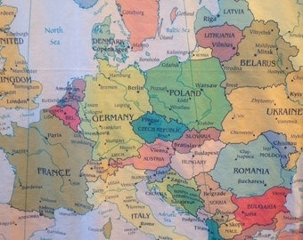 EUROPE Map minky blanket / baby cuddle quilt... or shoulder blanket, wheelchair lap blanket - 30 by 40 inches