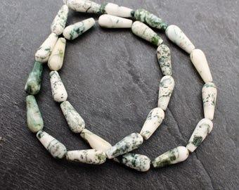 Tree Agate Beads,  16 x 6 mm Teardrop. Full 16 Inch Strand.