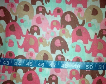 Adorable Pink Elephant Fabric-By-The-Yard