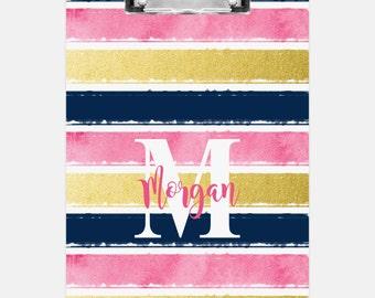 Striped Clipboard - Personalized Clipboard - Monogrammed Clipboard - Custom Clipboard - Office Decor - Gift - Teacher - Work
