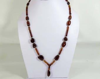 Natural Hessonite garnet. Beautiful!! Hessonite Garnet Necklace. Rondelle & Tumble Garnet necklace. hessonite garnet beads Necklace HSN-54