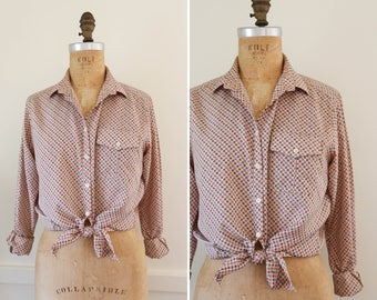 1990's liz claiborne collared printed button down