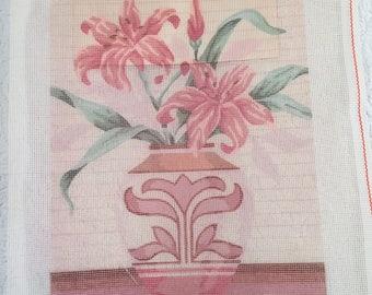 Elsa Williams Handprinted Full Color Needlepoint Canvas Tiger Lily Still Life