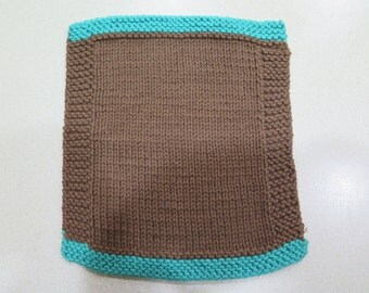 knitted brown and aqua wash cloth