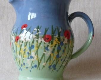 Handmade pottery jug. Hand painted Meadow Flowers jug