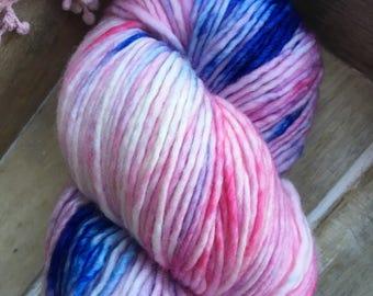 Hand Dyed Yarn | DK Worsted Weight | Superwash Merino Wool Yarn - Pink - Blue - Ballerina