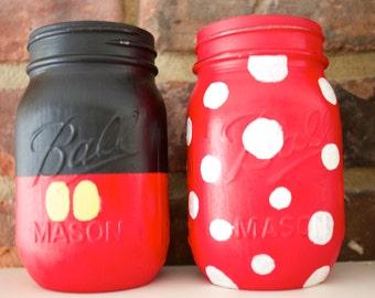 Disney Mason Jars. Minnie Mouse. Mickey Mouse. Kids Room Decor. Playroom Decor. Disney Decor. Baby Shower Centerpiece. Kids Birthday Party.
