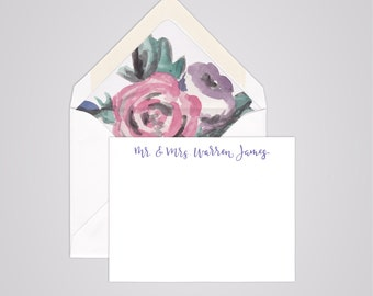 Modern Calligraphy Notecards - Personalized  Stationery - Handwritten - Couples - Mr & Mrs - Simple - Clean Design - Sets of 10