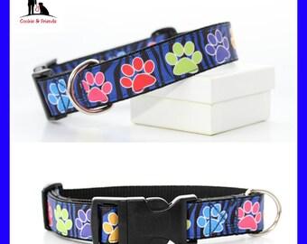 "Dog collar ""Paws-Zebra, blue"""