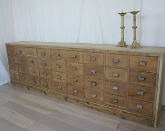 Vintage French Oak Apothecary Drawers