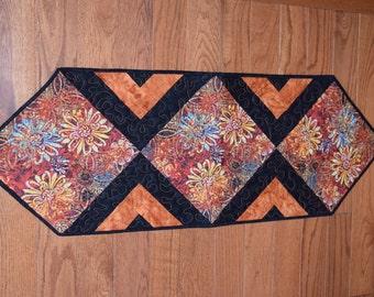 Modern Floral Table Runner Orange Fall, Table Topper, Runner