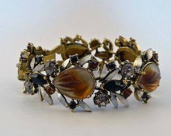 Vintage Florenza Art Glass & Rhinestone Wide Bracelet SUPER NICE