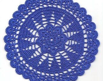 Vintage Handmade Crochet Doily Lace Doilies Wedding Decoration Home Decor Flower Mandala Dream Catcher Crocheted Round Royal Blue Modern