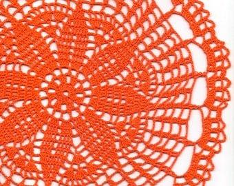 Crochet Doily Lace Orange Handmade Cotton Handcrafted Round Doilies Crocheted Centerpiece Lacy Home Decor Wedding Decorative Bohemian Design