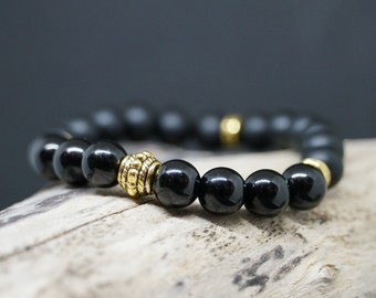 """Bracelet series Sexy Chic """"GlamBlack"""" onyx matte and shiny stone, and Spacer fantasy"""