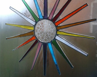 Tiffany style Stained Glass Rainbow Sun with glass etched pattern.