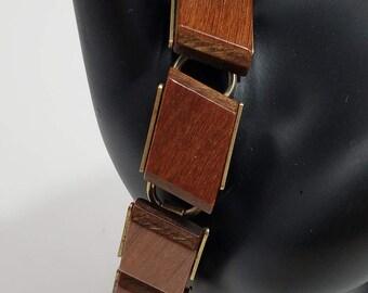 Beautiful & Unique!  Wood (Walnut?) Linked Bracelet