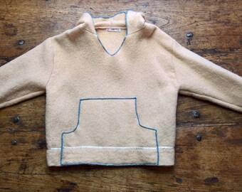 Cream Hoodie Coat, pure wool
