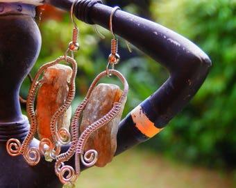 Green Kyanite earrings, handmade, wire wrapped, peridot bead