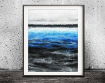 Instant download printable art wall decor art blue abstract print landscape painting art line modern interior design artwork  home decor