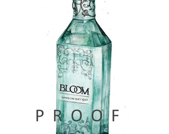 Bloom Gin Giclée Limited Edition Print of my original watercolour