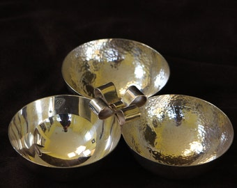 Silver clover shaped snacks or dip bowl