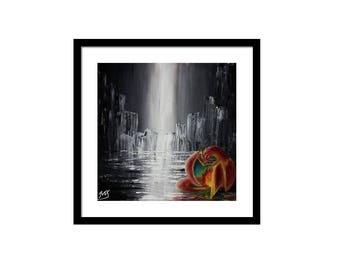 Digital copy)Charizard in the Rain Pokemon Painting