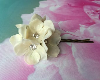 Hydrangeas flowers hair pins with Swarovsky crystal