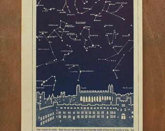 Pair of original mid-century astronomy illustrations - vintage - 1950s