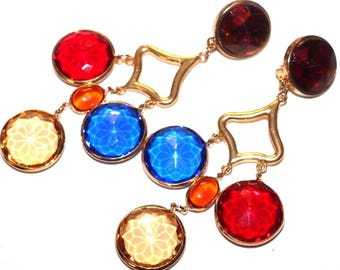 VINTAGE 80'S Massive Long Colorful Fun Faceted Candy Lucite CHANDELIER Clip EARRINGS