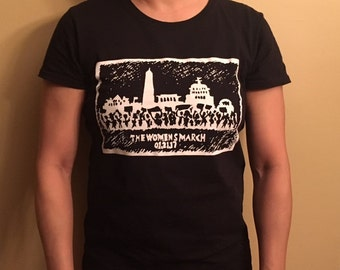 Original Women's March--Womens Crew Neck Black tee