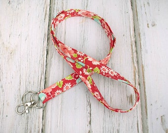 Lanyard ID Badge Holder- Red & Pink Floral Fabric