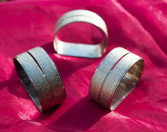 3 Retro Silver Napkin Rings with Name Holder 1970's Brushed finish Stunning