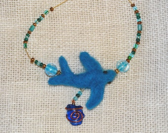 felted whale necklace