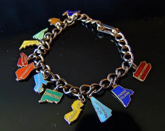 Vintage Charm Bracelet, 12 Colony States in Colorful Enameled Metal