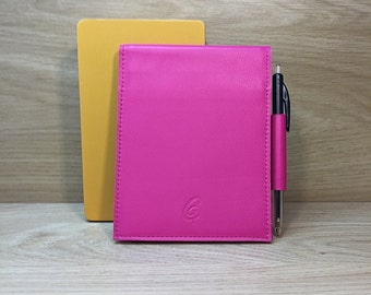 Fuchsia leather notebook