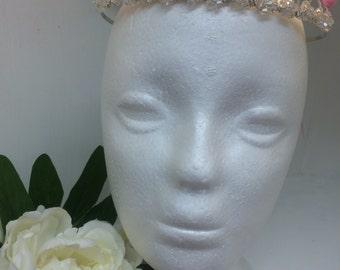 Handmade/bespoke fresh water pearl & crystal full tiara
